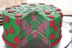 Pink and green iced checkerboard cake