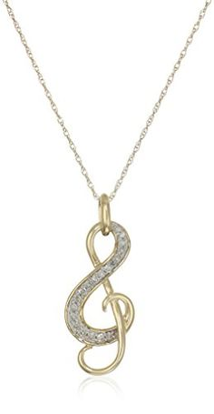 10k Yellow Gold Diamond Music Note Pendant Necklace 110 cttw IJ Color I2I3 Clarity 18 * Visit the image link more details.(This is an Amazon affiliate link and I receive a commission for the sales)