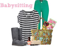 """Babysitting outfit"" by my-world-expressed ❤ liked on Polyvore"