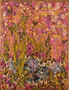 """In the Garden of Love and Lavender"" - an art quilt embellished with buttons and beads.  Nancy Smeltzer, © 2005"