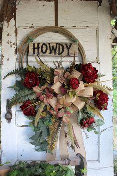Howdy Western Rope Wreath with Burgundy Red Flowers / Rustic Lariat Wreath / Cowboy / Country/ Farmhouse / Western Home Decor / Ranch House by GypsyFarmGirl on Etsy