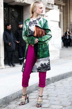 Hanne Gaby Odiele wears a Dries Van Noten coat and top in Paris.