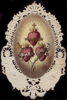 Holy Card with The Sacred heart of Jesus above, The to the left below is The Immaculate Heart of Mary, and to the heart the Heart of St. Joseph, shown with lilies. Religious Pictures, Religious Icons, Religious Art, Catholic Prayers, Catholic Art, Catholic Saints, Roman Catholic, Jesus Jose Y Maria, Vintage Holy Cards