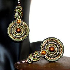 Large Soutache Classic Earrings Brown Green and Gold by margoterie