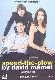 """""""Speed the Plow"""" by David Mamet, with Gina Bellman, Neil Morrissey and Nathaniel Parker, Duke of York's Theatre, London, July 2000"""