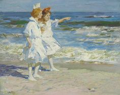 """Girls on the Beach,"" Edward Henry Potthas, oil on canvas, 24¼ x 30"", private collection."