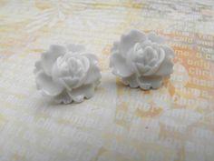 Stud Earrings  Crisp White Ear Blooms  Blooming Roses  by ladeebee, $8.00