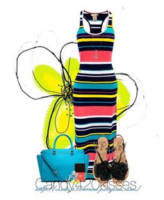 """bright striped Maxi dress"" by candy420kisses ❤ liked on Polyvore featuring Blink, Lafonn, MICHAEL Michael Kors, Butter London, Bridge Jewelry and Kate Spade"