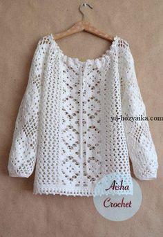 Кружевная блузка крючком схемы. Ажурные кофточки крючком на лето