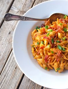 Healthy Bacon & Pumpkin Pasta—a fun use for the favorite fall vegetable (Pinch of Yum)