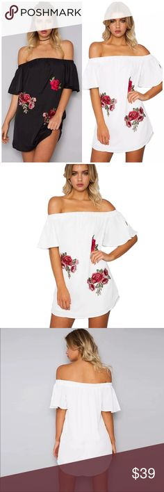 ✨CLOSING SALE✨Off Shoulder Floral Patch Mini Dress Off Shoulder Floral Patch Mini Dress. Available in Black and white. Unlined. Made of poly/ cotton blends. Runs small. Choose size and color at checkout B Chic Boutique Dresses Mini
