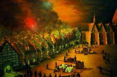 Historisches Gemälde Kirchplatz Obernkirchen