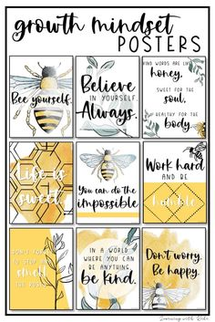 These trendy, watercolor, bee motivational posters are perfect for your mustard, geometric, nature inspired classroom decor. There are 10 unique growth mindset quotes on unique posters. Classroom Displays, Classroom Themes, Classroom Organization, Classroom Quotes, Kindergarten Classroom, Classroom Management, Classroom Design, Future Classroom, Growth Mindset Posters