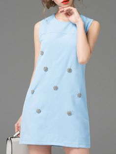 ¡Cómpralo ya!. Blue Crew Neck Beading Shift Dress. Blue Round Neck Sleeveless Polyester Shift Short Fabric has no stretch Summer Casual Day Dresses. , vestidoinformal, casual, informales, informal, day, kleidcasual, vestidoinformal, robeinformelle, vestitoinformale, día. Vestido informal  de mujer color azul marino de SheIn.