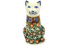 Polish Pottery 5-inch Cat Figurine | Boleslawiec Stoneware | Polmedia H2712D