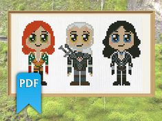 Chibi Geralt Yennefer Triss from Witcher video game series