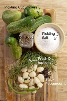 Canning Dill Pickles, Garlic Dill Pickles, Kosher Dill Pickles, Pickled Garlic, Homemade Dill Pickles, Pickled Olives, Cucumber Recipes, Dill Pickle Recipes, Canning Vegetables