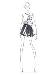 Fashion illustration - fashion design sketch for WHIT Fashion Illustration Tutorial, Fashion Illustration Dresses, Illustration Mode, Fashion Design Drawings, Fashion Sketches, Fashion Art, Fashion Models, Fall Fashion, Fashion Templates