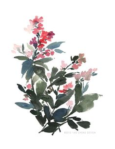 Hey, I found this really awesome Etsy listing at https://www.etsy.com/listing/175055569/red-flora-in-strokes-of-blue-watercolor