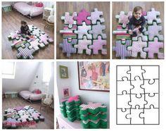 Puzzle alakú párnák gyerekszobába