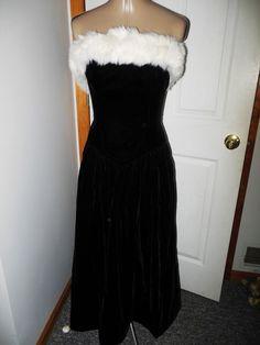 Vintage Tadashi Black Velvet Long Strapless Gown With Faux Fur   #Tadashi