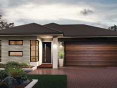 The Callington - the Metro Collection. Simple in its design, the Callington still ticks a lot of boxes. Complete with a large master bedroom, 3 additional bedrooms and large bathrooms. Bungalow House Design, House Front Design, Modern Bungalow, Small House Design, Modern Exterior House Designs, Exterior House Colors, New Home Designs, Modern House Design, My House Plans