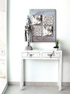 ESTUDIO DELIER | Cuadro flores jardin plata 60x75