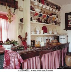 Red+white checked gingham curtains below wooden worktop in cottage kitchen with crockery on white shelves View Large Photo Image Retro Kitchen Decor, Red Kitchen, Kitchen Themes, Kitchen Redo, Kitchen Styling, Vintage Kitchen, Kitchen Remodel, Primitive Kitchen, Rustic Kitchen