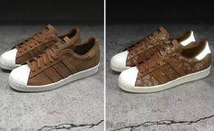 hot sale online f504c 5d64f Adidas Originals Superstar 80s Camo Brown Leather Sneaker B27163  219.00
