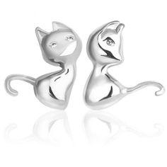 JEXXI Милый Мультфильм 3D Животных Стерлингового Серебра 925 Cat Стад Серьги для Женщин Brincos Bijoux Пирсинг Ювелирные Изделия