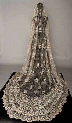Cathedral length vintage lace wedding veil.