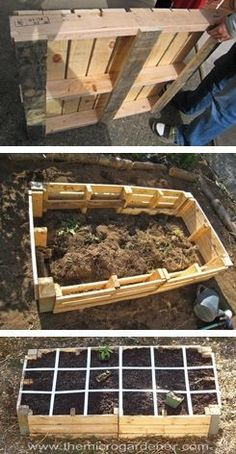 Pallets are used in this project to create a low-cost raised garden bed for square foot gardening. Protecting the timber inside the bed with a plastic liner will help preserve the life of the structure.