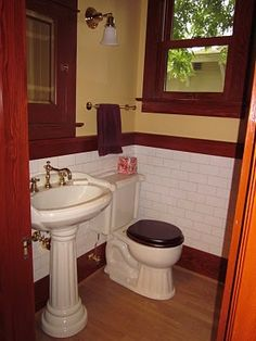 Half Bathroom Ideas - Benefit from a lavatory's tiny dimension to earn a bold layout statement. Craftsman Style Bathrooms, Craftsman Style Interiors, Bungalow Bathroom, Craftsman Decor, Craftsman Interior, Tiny Bathrooms, Craftsman Bungalows, Small Bathroom, Bathroom Ideas