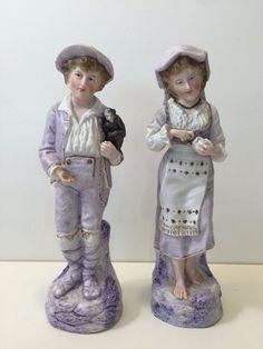 "Vintage LM Porcelain Bisque Woman & Man Figurines, 12 7/8"" Tall x 4"" Widest"