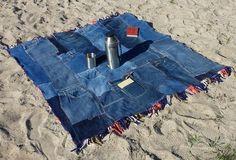 Patchwork Denim Quilt Plaid Blanket with Fringe Eco von PolClary via etsy