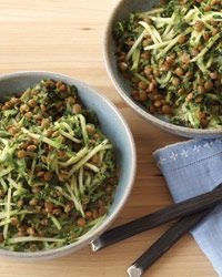 Lentils in Herb Arugula Yogurt. Would be good with broccoli slaw or julienned zucchini too.