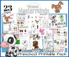 Barnyard Friends Preschool Pack 23 Pages Of Activities