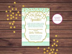Mint Green and Gold Baby Sprinkle Invitation, Baby Sprinkle, Gender Neutral Boy Girl Printable Invitation 369 Baby Sprinkle Invitations, 30th Birthday Invitations, Photo Invitations, Digital Invitations, Printable Invitations, Green And Gold, Mint Green, Photo Center, Color Card