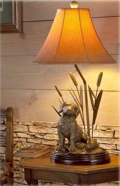 Labrador Dog Decoy Duck Cattail Table Lamp Hunting Lab Retriever Rustic Light