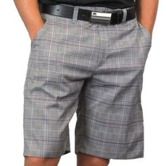 Classy plaid golf shorts with stretch fabric and moisture wicking benefits. Tres bon!