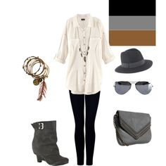 black + grey + brown......I think I'd lose the hat though