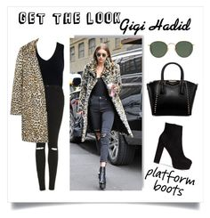 """Get the Look: Gigi Hadid"" by keepfashion92 ❤ liked on Polyvore featuring Topshop, Sans Souci, MANGO, Nly Shoes and Ray-Ban"
