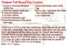 Original Toll House Pan Cookies Recipe http://recipecurio.com/original-toll-house-pan-cookies-recipe/#