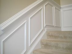 Designed To Dwell: Tips for Installing Chair Rail & Wainscoting. & Happiness Kittiyachavalit Kittiyachavalit Kittiyachavalit Murr is this how you think the chair rail and below should look in my entry and my living room? Chair Rail, House Design, Wainscoting Stairs, Moldings And Trim, Wainscoting Height, Home Diy, Wainscoting Panels, Dining Room Wainscoting, Stairs