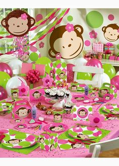 Pink Monkey First Birthday Theme for Girls