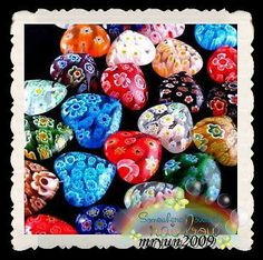FREE TOP 50PCS SHINING HEART Millefiori glass Spacers Loose BEADS Findings 10MM. i am looking forward to working with these and hope to get to murano in italy where milliefiori glass originates from (with a shopping basket of course!...)