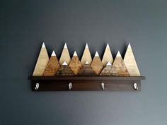 Snow Capped Mountains Wood Wall Coat Rack with Hooks, Modern Rustic Art – Storage Ideas Rustic Art, Modern Rustic, Rustic Decor, Art Storage, Storage Hooks, Rustic Coat Rack, Into The Woods, Diy Holz, Wall Racks