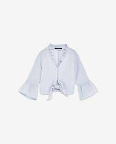 Image 8 of CROPPED KNOTTED BLOUSE WITH FRILLS from Zara