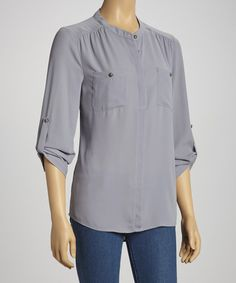 Take a look at this Gray Pocket Three-Quarter Sleeve Top by Tacera on #zulily today!