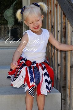 Baby and Girls 4th of July Chevron Skirt by ChelseaRoseBaby, $24.00